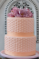 Hobnail texture accented with sugar flowers