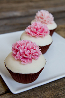 Carnation topped fondant cupcakes.