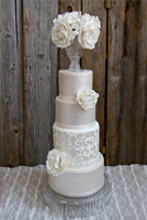 Hand painted pearl finished tiers topped with a large bouquet of sugar flowers
