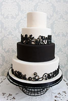 Vintage black and white cake